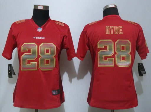 ID102563 Women\'s San Francisco 49ers #28 Carlos Hyde Red Strobe 2015 NFL Nike Fashion Jersey