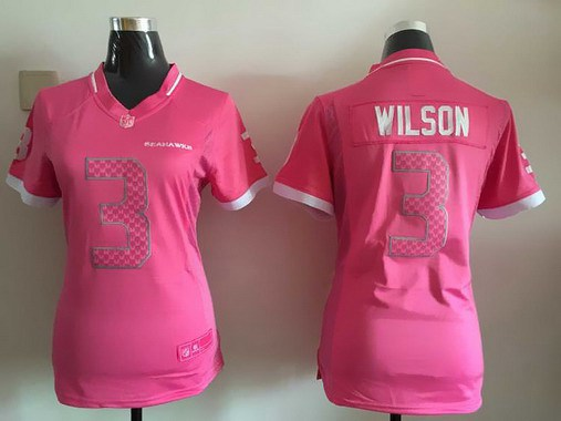 ... Womens Seattle Seahawks 3 Russell Wilson Pink Bubble Gum 2015 NFL Jersey  . 4082324ff