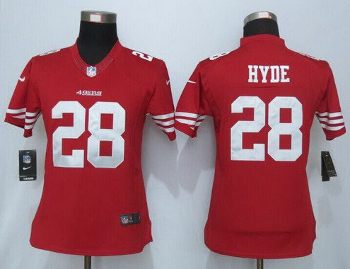 ID102500 Women\'s San Francisco 49ers #28 Carlos Hyde Scarlet Red Team Color NFL Nike Limited Jersey