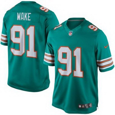 ID102434 Youth Miami Dolphins #91 Cameron Wake Aqua Green Alternate 2015 NFL Nike Game Jersey