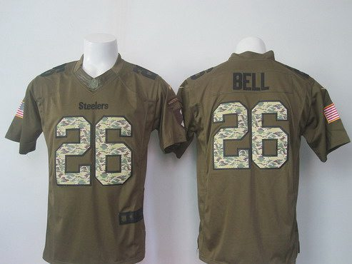 ID102939 Men\'s Pittsburgh Steelers #26 LeVeon Bell Green Salute To Service 2015 NFL Nike Limited Jersey