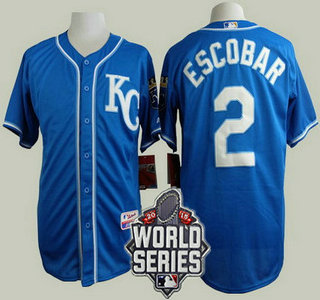 Men's Kansas City Royals #2 Alcides Escobar KC Blue Alternate Baseball Jersey With 2015 World Series Patch
