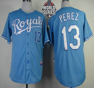 Men's Kansas City Royals #13 Salvador Perez Light Blue Alternate Baseball Jersey With 2015 World Series Patch