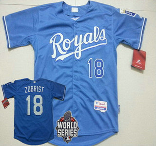 Men's Kansas City Royals #18 Ben Zobrist Light Blue Alternate Baseball Jersey With 2015 World Series Patch