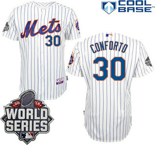 New York Mets Authentic #30 Michael Conforto Home White Pinstripe Jersey with 2015 World Series Participant Patch