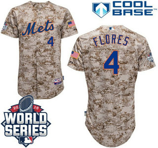 Men's New York Mets #4 Wilmer Flores Camo Cool base baseball Jersey with 2015 World Series Participant Patch
