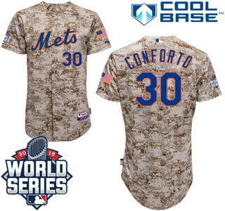 New York Mets #30 Michael ConfortoCamo Authentic Cool Base Jersey with 2015 World Series Participant Patch