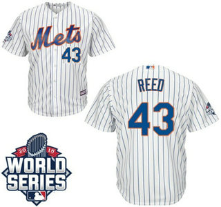 New York Mets #43 Addison Reed Home white Authentic Cool Base Jersey with 2015 World Series Participant Patch