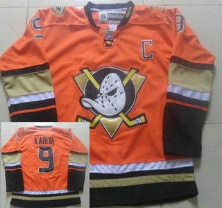 Men's Anaheim Ducks #9 Paul Kariya Reebok Orange Alternate Premier Jersey