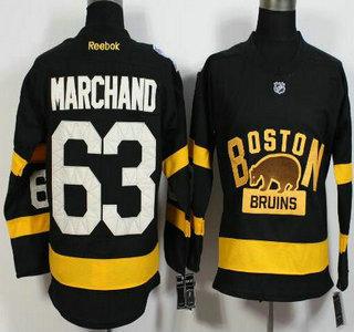 Men's Boston Bruins #63 Brad Marchand Reebok Black 2016 Winter Classic Premier Jersey