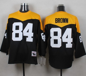 ID102913 Men\'s Pittsburgh Steelers #84 Antonio Brown Black 1967 Home Throwback NFL Jersey