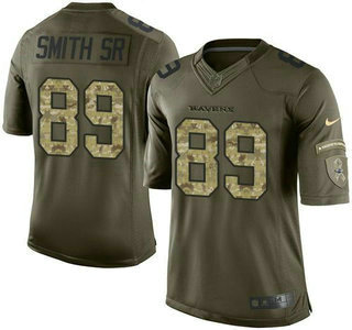 ID102908 Men\'s Baltimore Ravens #89 Steve Smith Sr Green Salute to Service 2015 NFL Nike Limited Jersey