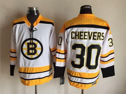 Men's Boston Bruins #30 Gerry Cheevers 1968-69 White CCM Vintage Throwback Jersey