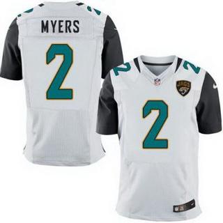 ID102352 Men\'s Jacksonville Jaguars #2 Jason Myers White Road NFL Nike Elite Jersey