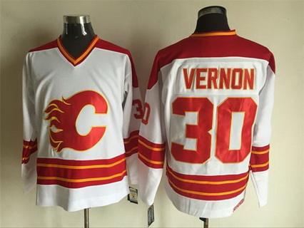Men's Calgary Flames #30 Mike Vernon 1980-81 White CCM Vintage Throwback Jersey