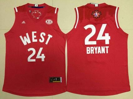 2015-16 NBA Western All-Stars Men's #24 Kobe Bryant Revolution 30 Swingman Red Jersey