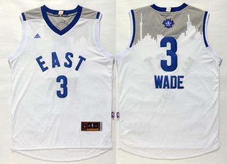 2015-16 NBA Eastern All-Stars Men's #3 Dwyane Wade Revolution 30 Swingman White Jersey