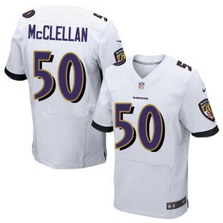 ID102286 Men\'s Baltimore Ravens #50 Albert McClellan White Road NFL Nike Elite Jersey