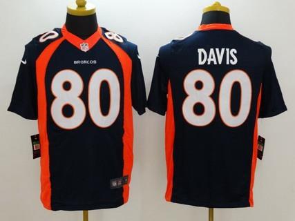... Mens Denver Broncos 80 Vernon Davis Navy Blue Alternate NFL Nike  Limited Jersey ...