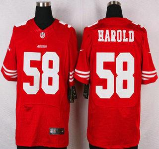 Nike NFL Mens Jerseys - San Francisco 49ers #58 Eli Harold Nike Red Elite Jersey on sale ...