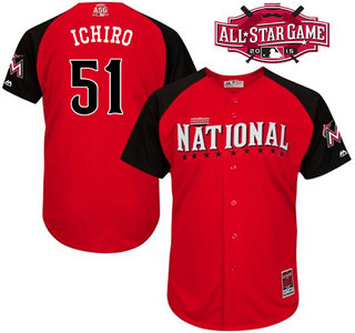 National League Miami Marlins #51 Ichiro Suzuki Red 2015 All-Star Game Player Jersey