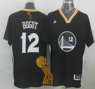 Golden State Warriors #12 Andrew Bogut Revolution 30 Swingman 2014 New Black Short-Sleeved Jersey