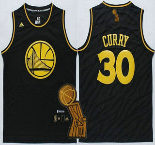 Golden State Warriors #30 Stephen Curry Revolution 30 Swingman 2014 Black With Gold Jersey