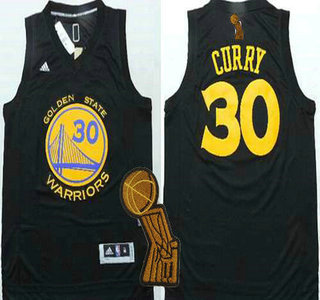 Golden State Warriors #30 Stephen Curry Revolution 30 Swingman All Black Jersey With 2015 Finals Champions Patch