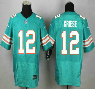 ID104938 Miami Dolphins #12 Bob Griese Aqua Green Alternate 2015 NFL Nike Elite Jersey