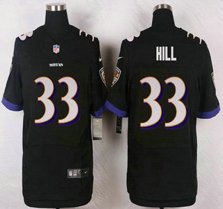ID104853 Baltimore Ravens #33 Will Hill Black Alternate NFL Nike Elite Jersey