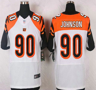 ID105043 Cincinnati Bengals #90 Michael Johnson White Road NFL Nike Elite Jersey