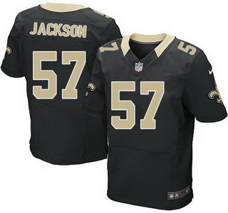 ID104956 New Orleans Saints #57 Rickey Jackson Black Team Color NFL Nike Elite Jersey