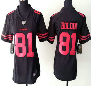 ... Womens San Francisco 49ers 81 Anquan Boldin Black Alternate 2015 NFL  Nike Game Jersey ... ebfa4e94a