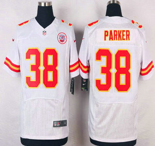 ID104517 Men\'s Kansas City Chiefs #38 Ron Parker White Road NFL Nike Elite Jersey