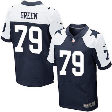 ID104341 Men\'s Dallas Cowboys #79 Chaz Green Navy Blue Thanksgiving Alternate NFL Nike Elite Jersey