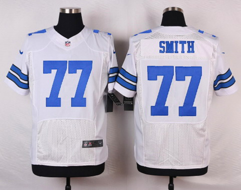 ID104389 Men\'s Dallas Cowboys #77 Tyron Smith White Road NFL Nike Elite Jersey