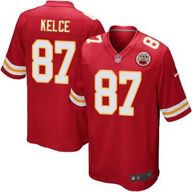 Men s Kansas City Chiefs  87 Travis Kelce Red Team Color NFL Nike Game  Jersey b8deca59d