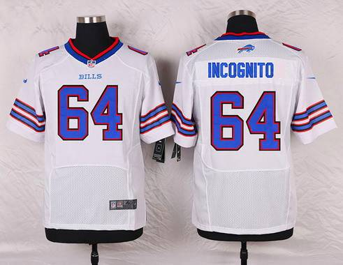 ID104064 Men\'s Buffalo Bills #64 Richie Incognito White Road NFL Nike Elite Jersey