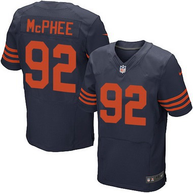 ID180098 Men\'s Chicago Bears #92 Pernell McPhee Navy Blue With Orange Alternate NFL Nike Elite Jersey