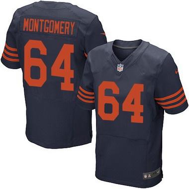 26b28c765 Men s Chicago Bears  64 Will Montgomery Navy Blue With Orange Alternate NFL  Nike Elite Jersey