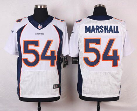 Men s Denver Broncos  54 Brandon Marshall White Road NFL Nike Elite Jersey f92655699