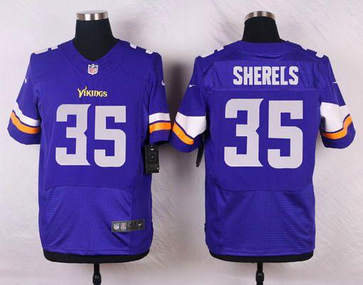 ID103608 Men\'s Minnesota Vikings #35 Marcus Sherels Purple Team Color NFL Nike Elite Jersey