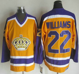 Men's Los Angeles Kings #22 Tiger Williams 1980-81 Yellow CCM Vintage Throwback Jersey