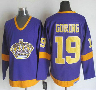 Men's Los Angeles Kings #19 Butch Goring 1977-79 Purple CCM Vintage Throwback Jersey