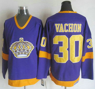 Men's Los Angeles Kings #30 Rogie Vachon 1977-78 Purple CCM Vintage Throwback Jersey