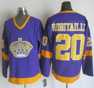 Men's Los Angeles Kings #20 Luc Robitaille 1977-79 Purple CCM Vintage Throwback Jersey