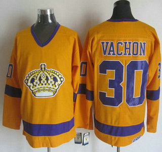 Men's Los Angeles Kings #30 Rogie Vachon 1970-71 Yellow CCM Vintage Throwback Jersey