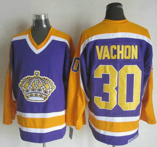 Men's Los Angeles Kings #30 Rogie Vachon 1980-81 Purple CCM Vintage Throwback Jersey
