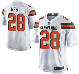 mens cleveland browns brown 28 terrance west white road 2015 nfl nike elite jersey