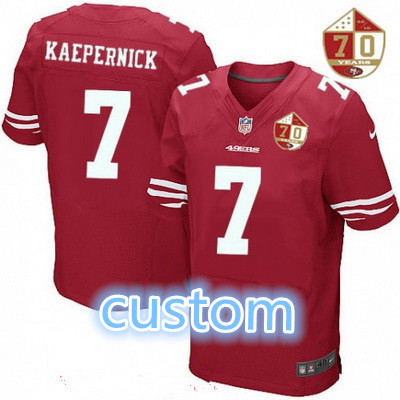 ... Game Jersey Mens San Francisco 49ers custom Scarlet Red 70th  Anniversary Patch Stitched NFL Nike Elite Jersey ... c59e0480f
